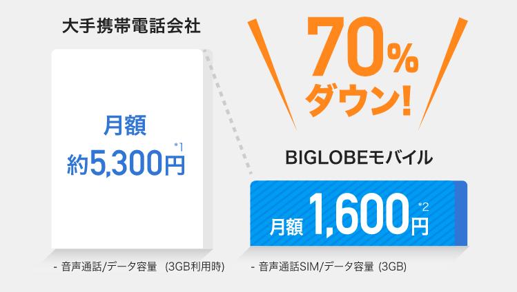 格安SIMなら半額以上おトク! 月額料金比較:大手携帯電話会社約5,300円、BIGLOBEモバイル1,600円