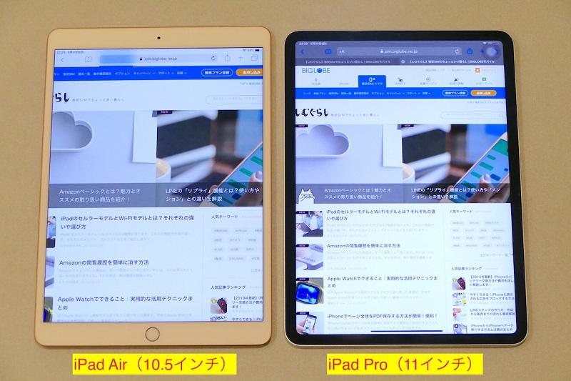 iPad AirとiPad Proのサイズ比較