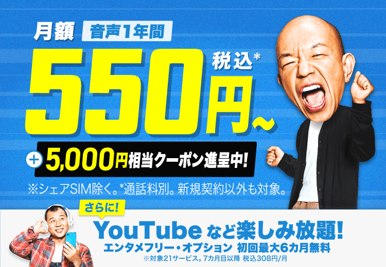 音声通話SIM3ギガなら6カ月間 月額400円(税・初期費用・通話料別)