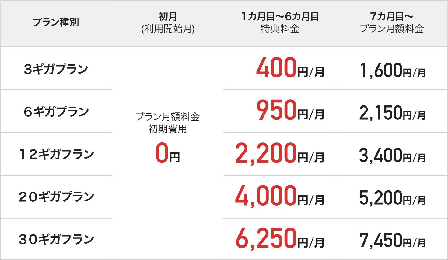 特典適用後の月額料金表(セレクトプラン)